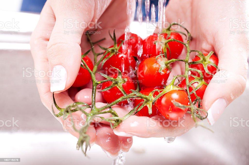 washing fresh vegetables royalty-free stock photo