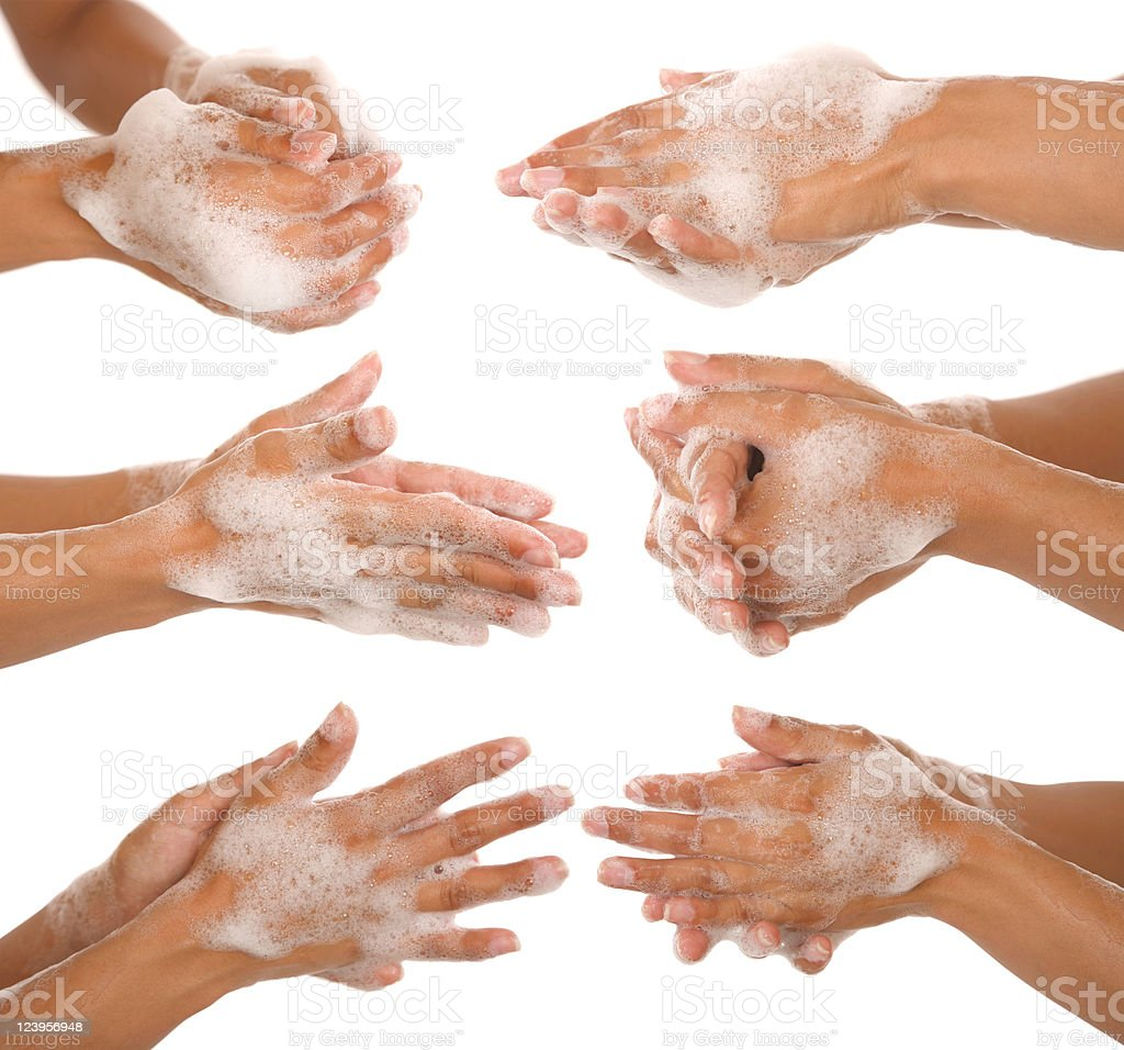 washing her hands royalty-free stock photo