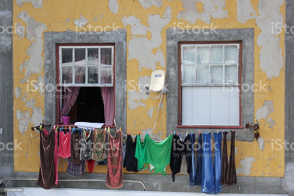 Washing line in Portugal stock photo