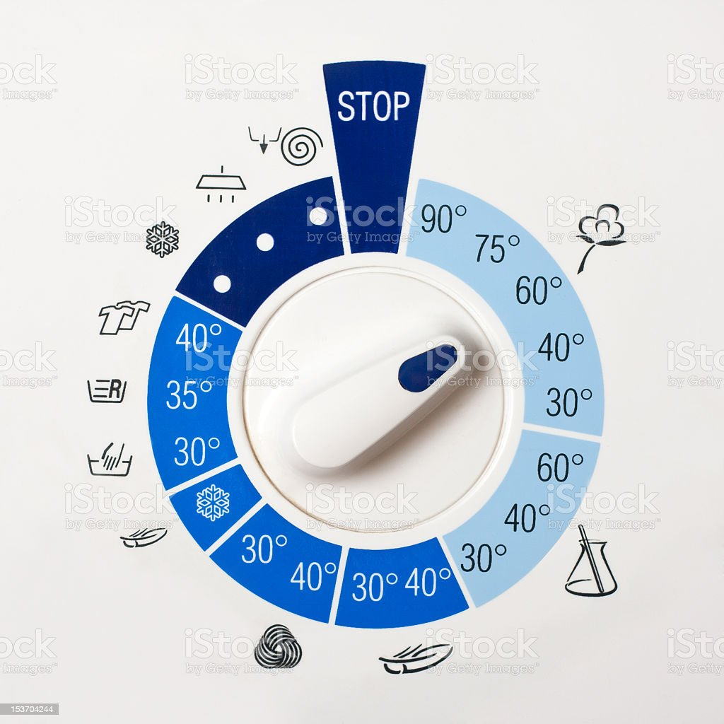Washing machine dial showing temperatures and fabric types stock photo