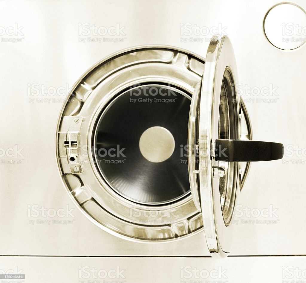 Washing machine front with open door stock photo