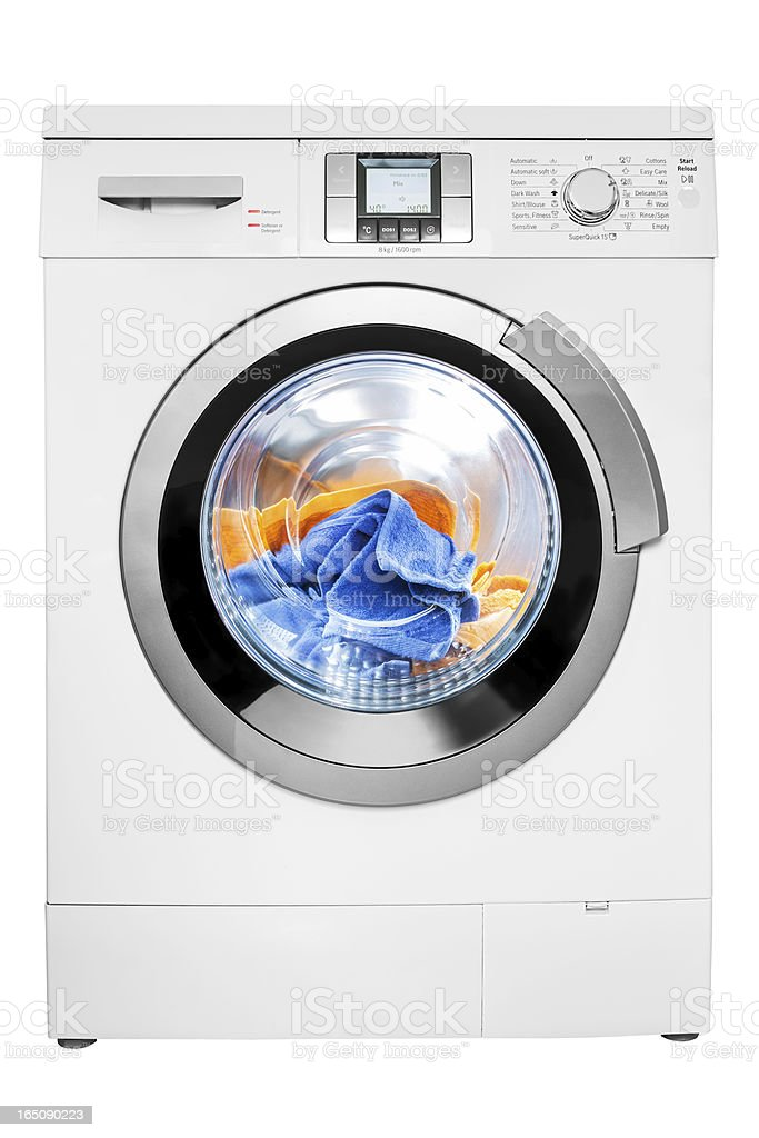 Washing machine, isolated on white, clipping path stock photo