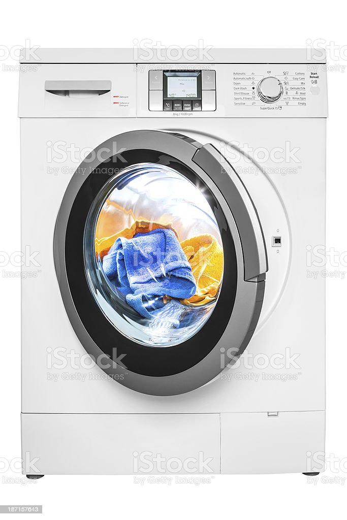 Washing machine, isolated on white, clipping path royalty-free stock photo