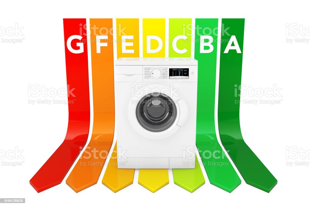 Washing Machine over Energy Efficiency Rating Chart. 3d Rendering stock photo