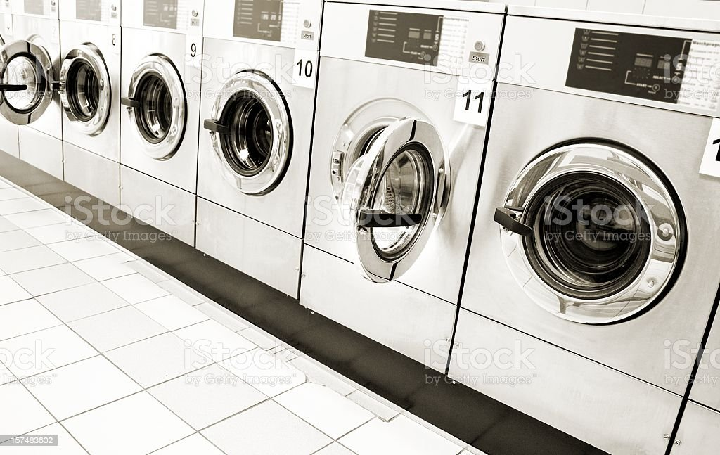 Washing machine row in a public center royalty-free stock photo
