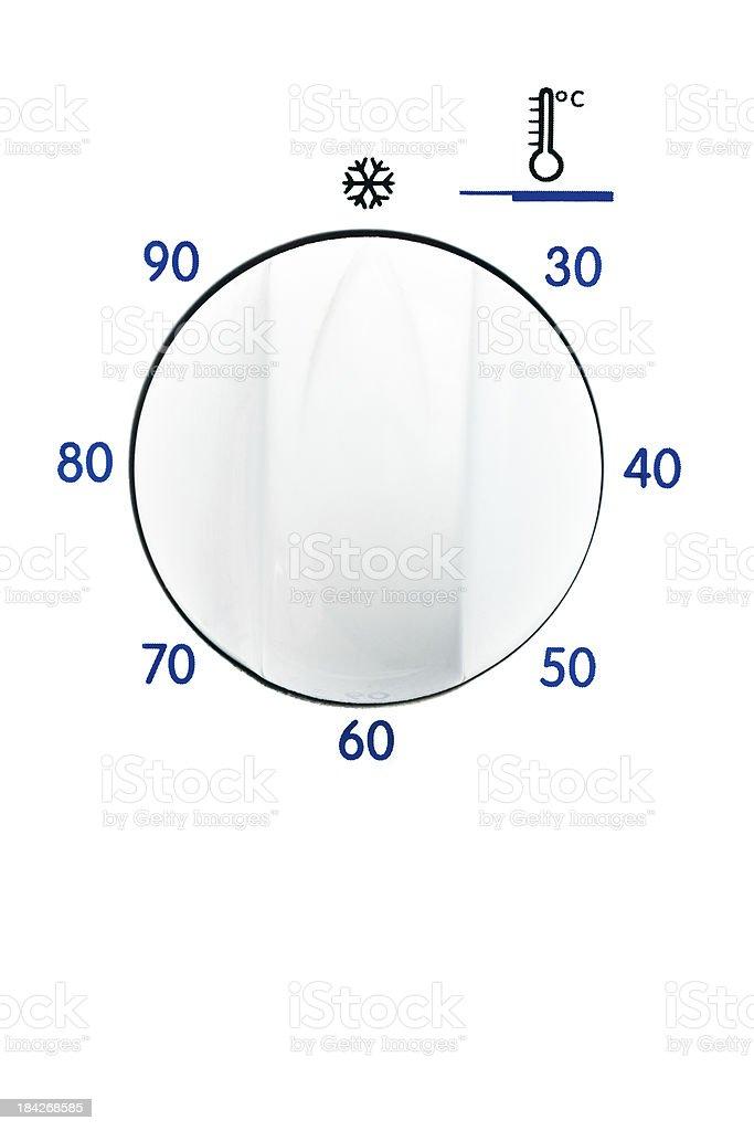 Washing machine temperature control button stock photo