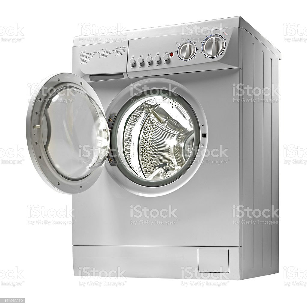Washing machine with door open stock photo