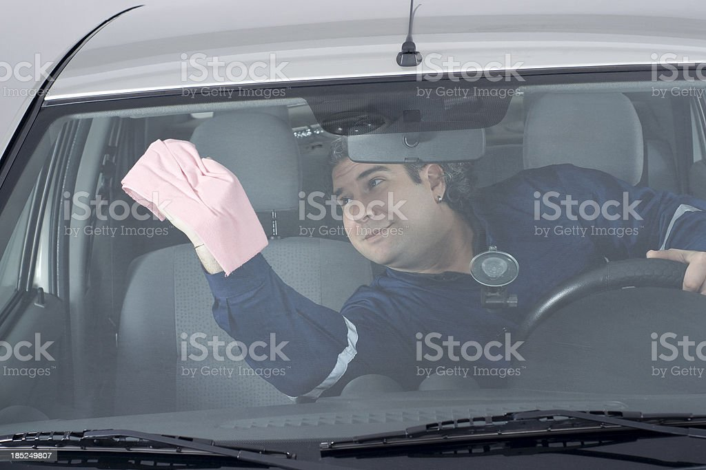 Washing the Car Interior royalty-free stock photo
