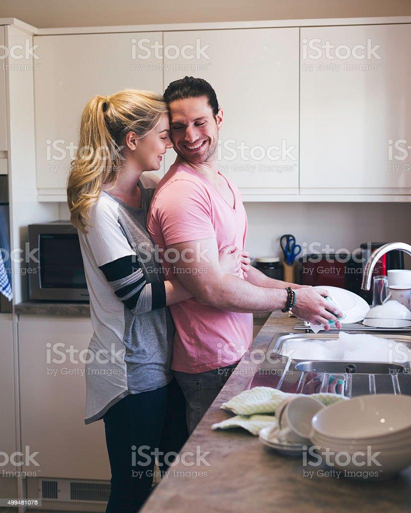 Washing the Dishes stock photo