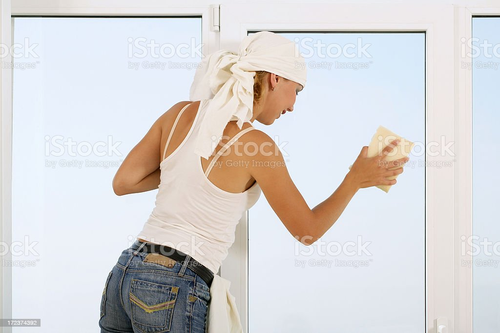 Washing the window royalty-free stock photo