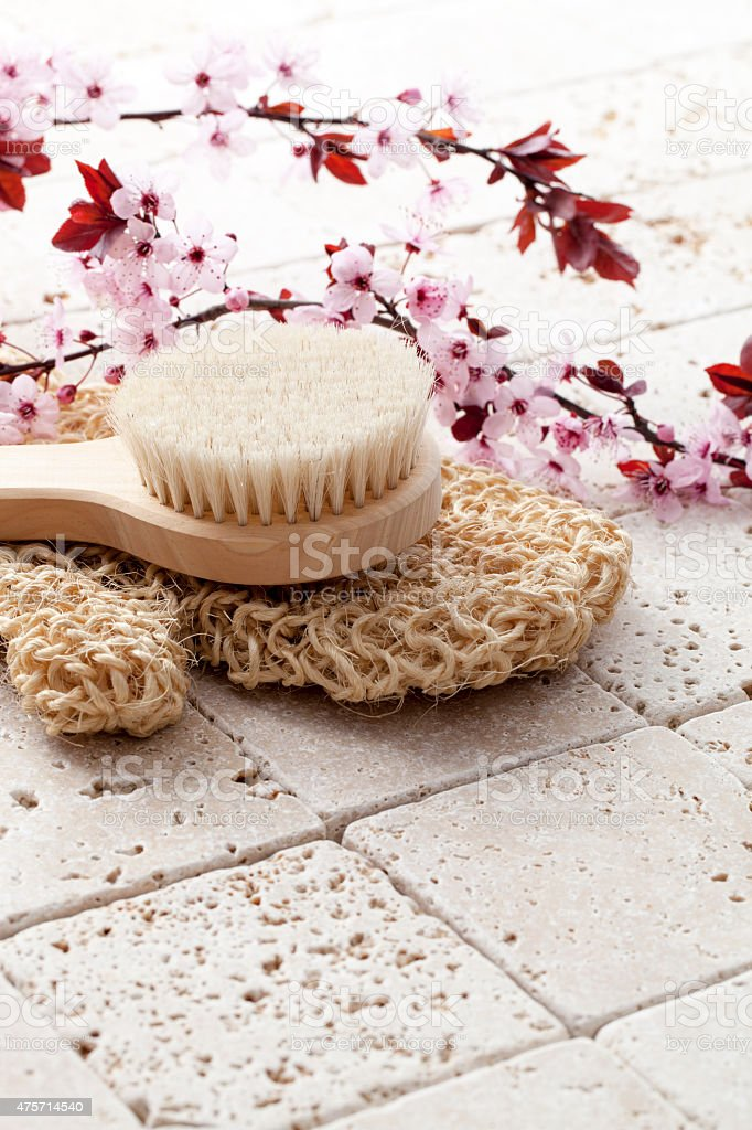 washing up with soft exfoliation stock photo