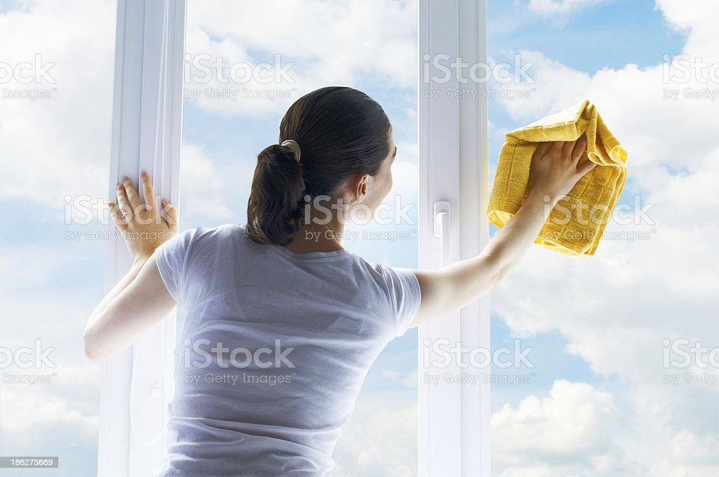 washing windows stock photo