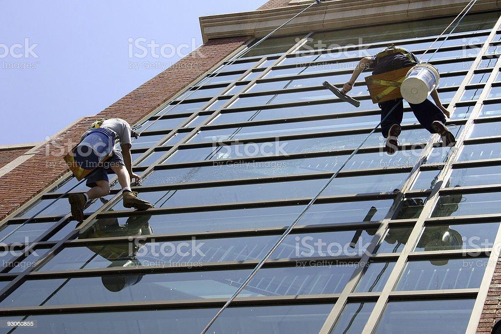Washing windows royalty-free stock photo