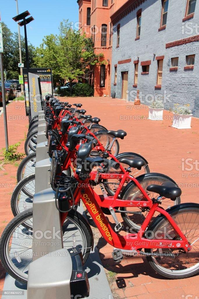 Washington DC bicycle sharing stock photo