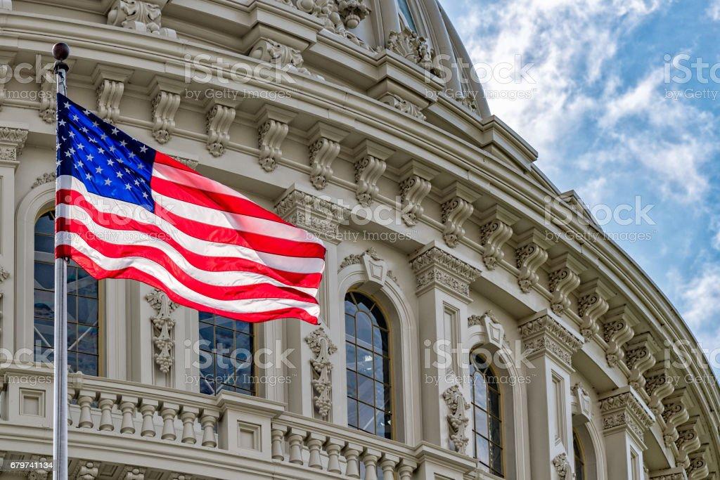 Washington DC Capitol view on cloudy sky stock photo