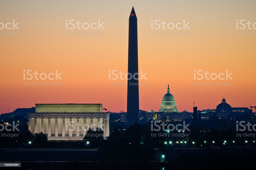 Washington DC During Civil Twilight stock photo