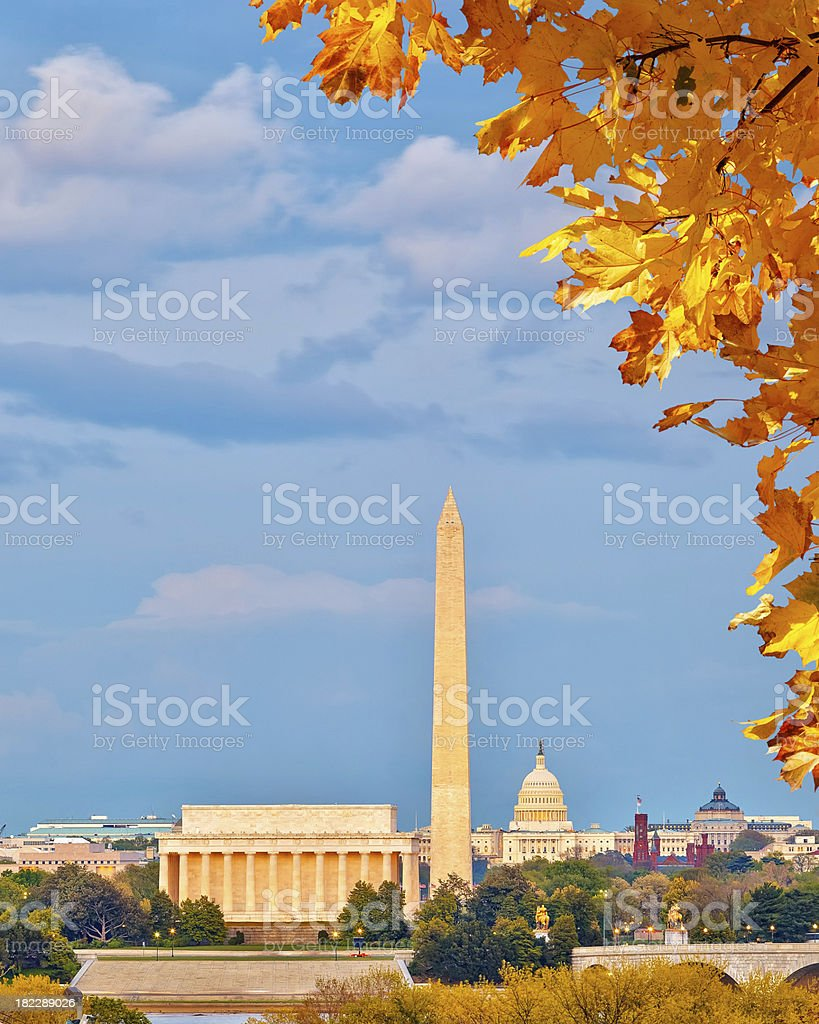 Washington DC landmarks in Autumn sun  stock photo