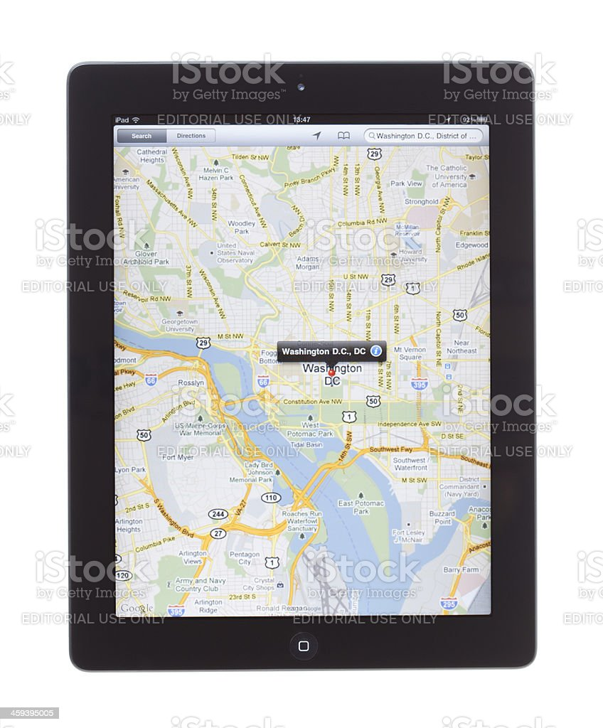 Washington D.C. Map On ipad2 royalty-free stock photo