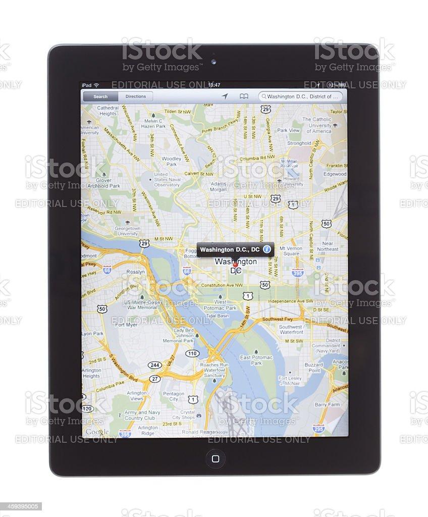 Washington D.C. Map On ipad2 stock photo