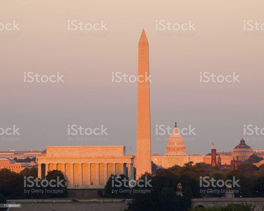 Washington DC monuments on the Mall royalty-free stock photo