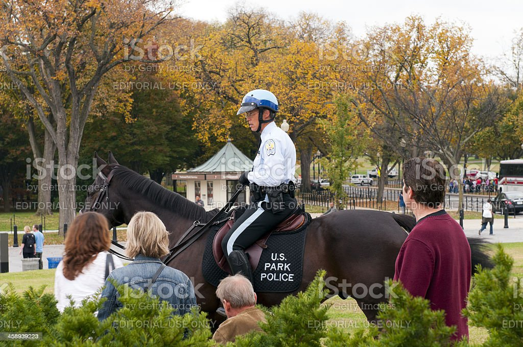 Washington DC officer on horseback, Lincoln Monument royalty-free stock photo