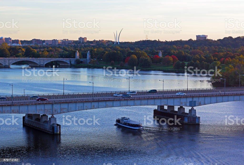 Washington DC panorama near Potomac River in early autumn. stock photo