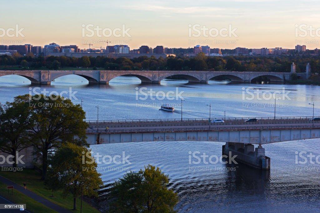 Washington DC panorama near Potomac River. stock photo