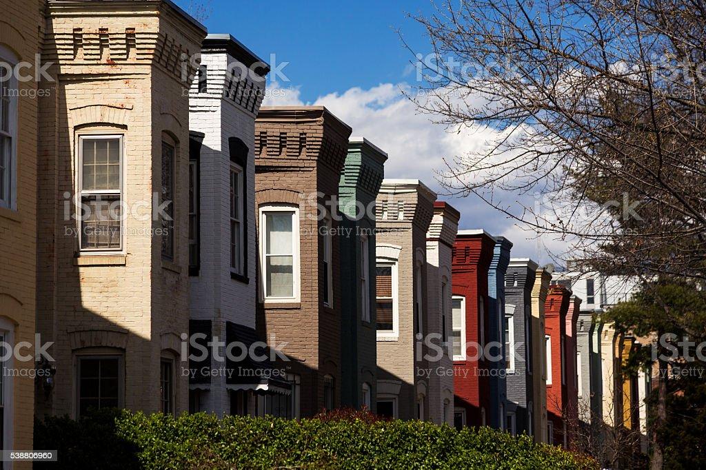 Washington D.C. Rowhouses stock photo