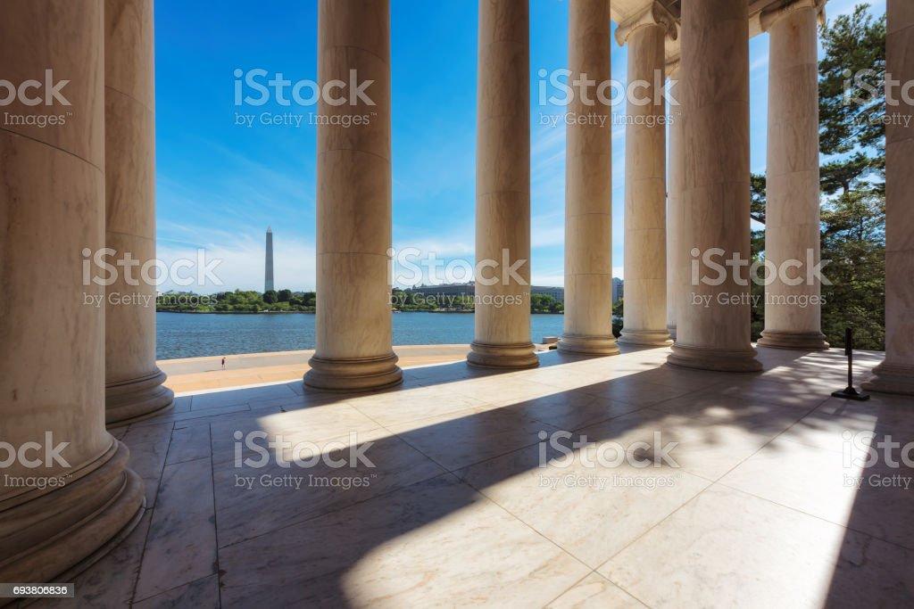 Washington DC skyline through columns stock photo