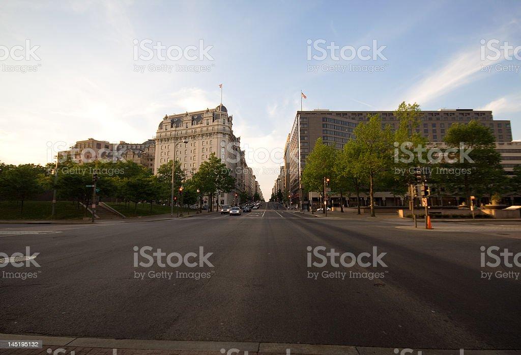 Washington DC Streets at Dusk Wide angle stock photo