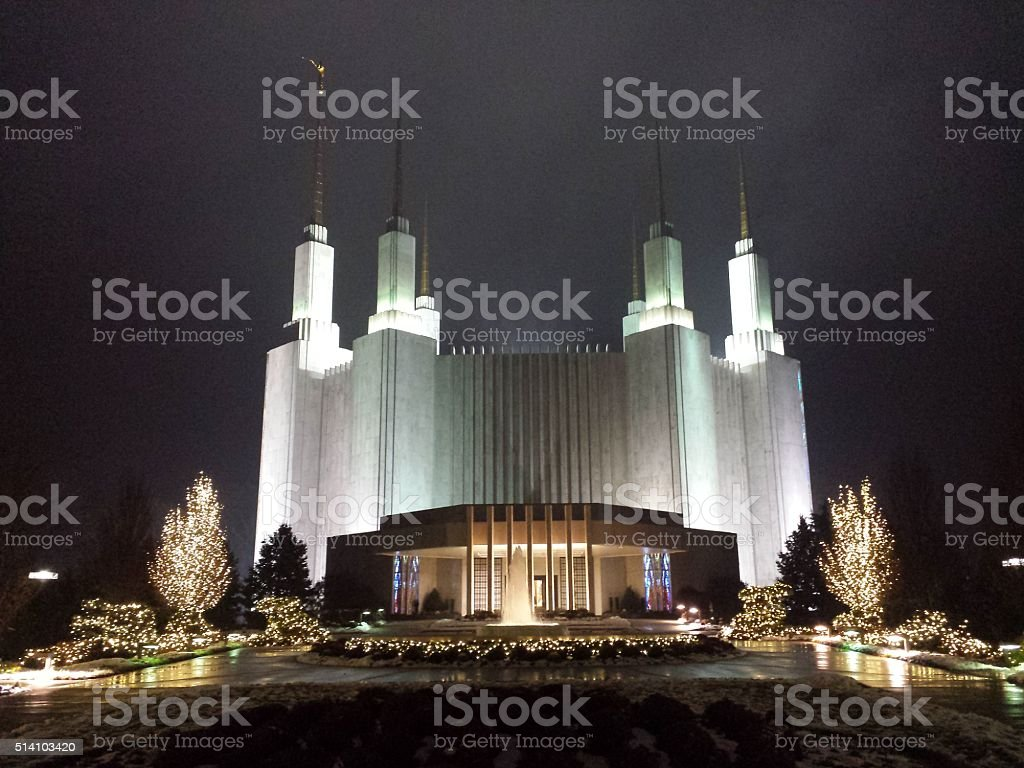 LDS Washington DC Temple at Night stock photo
