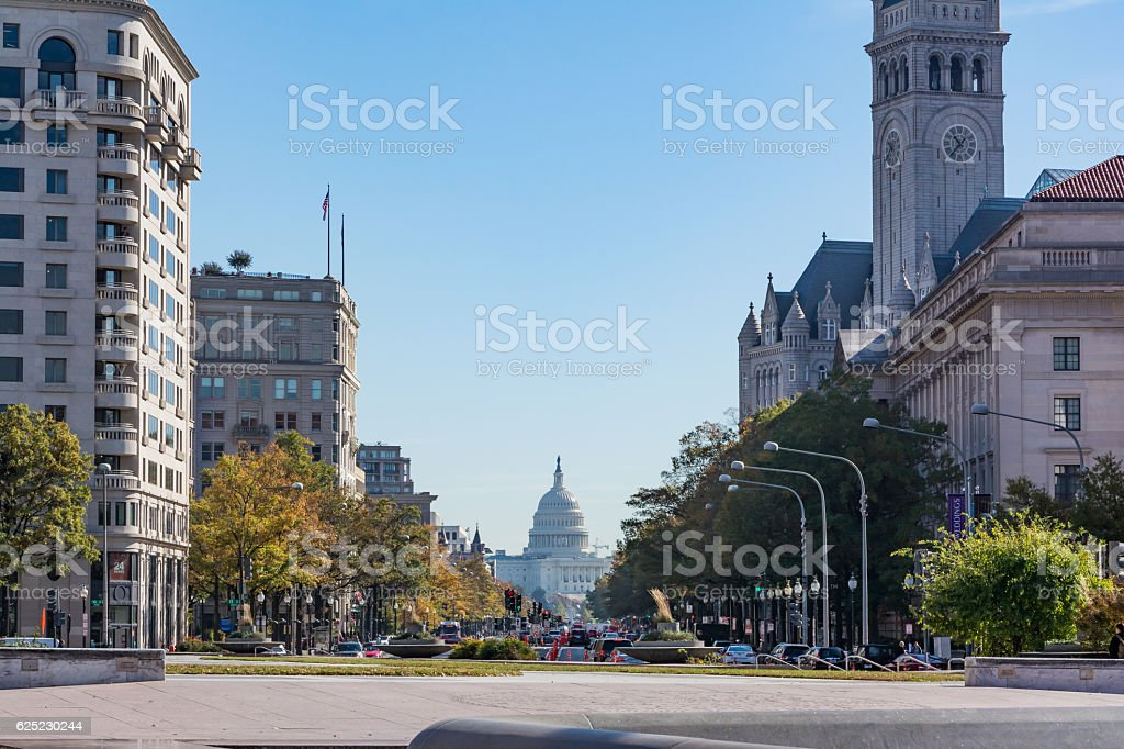Washington DC US Capitol Building Daylight Pennsylvania Ave Nove stock photo