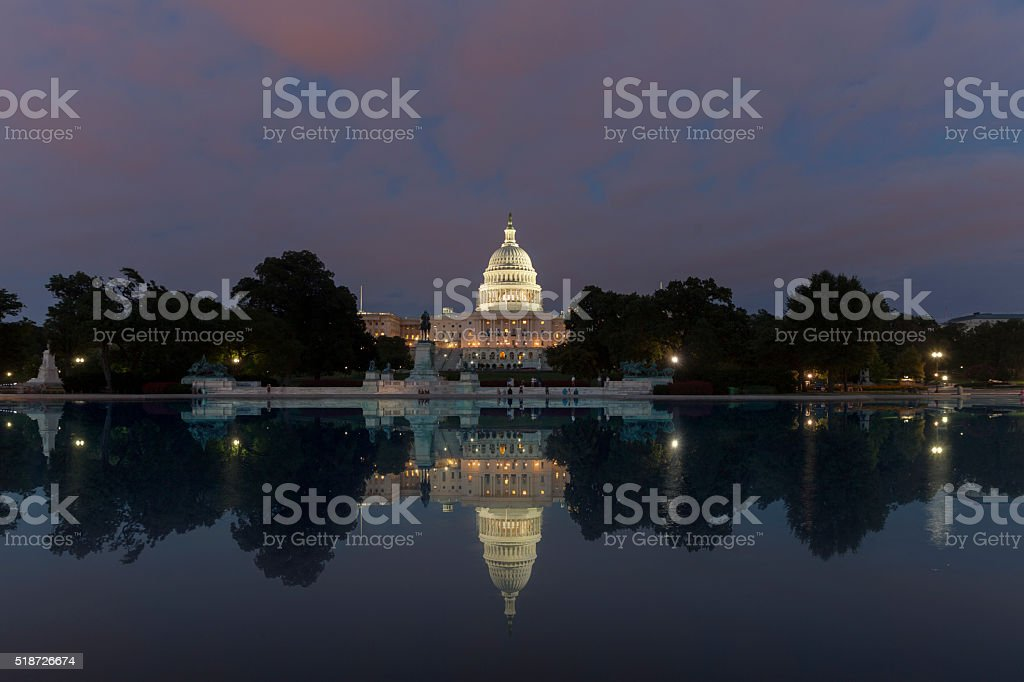 Washington DC, US Capitol Building in a cloudy sunrise stock photo