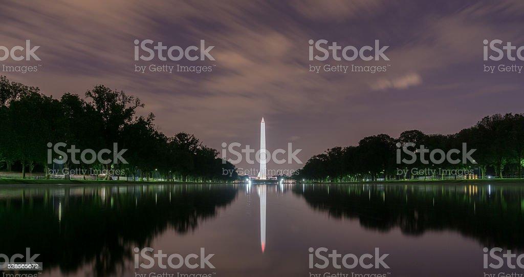 Washington D.C., Washington Monument at Night stock photo