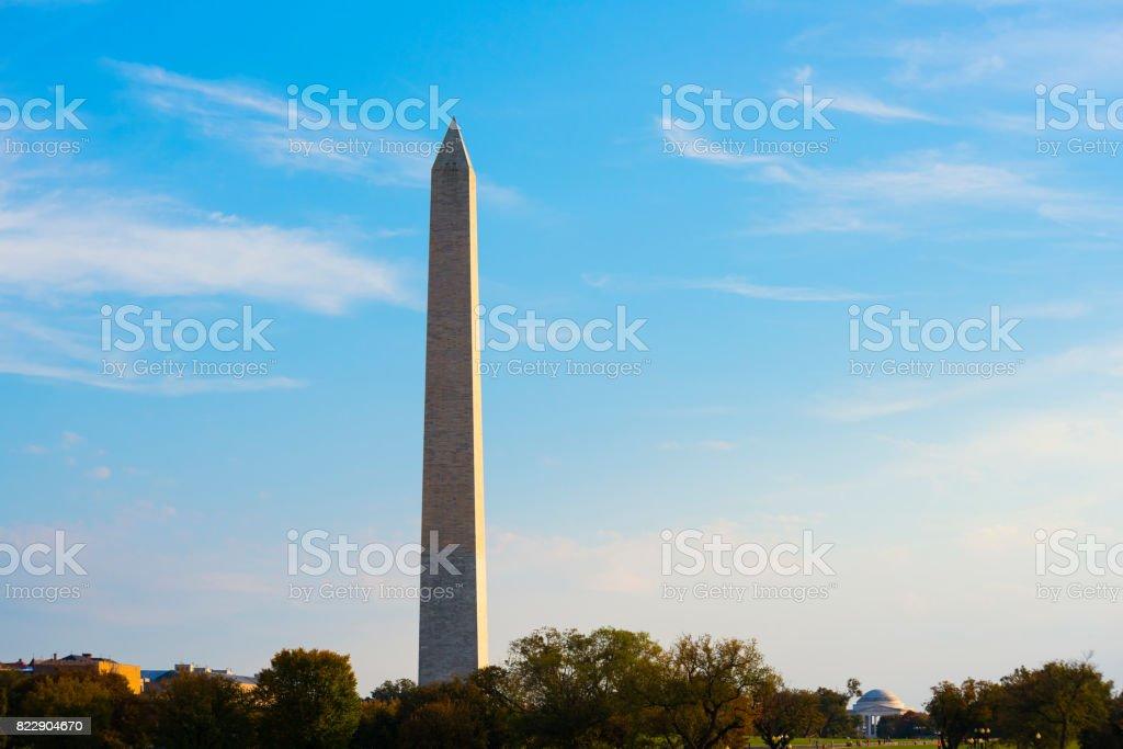 Washington DC with Washington Monument and Jefferson Memorial stock photo