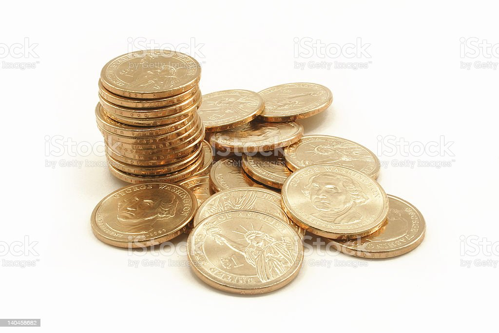 Washington Dollar Coins royalty-free stock photo