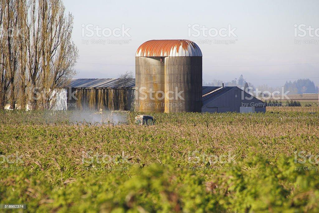 Washington Farmer Fertilizing Crop stock photo