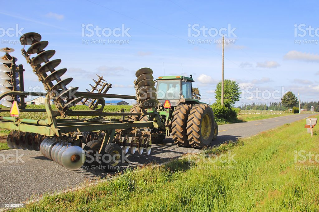 Washington Farmer Transporting Plow stock photo