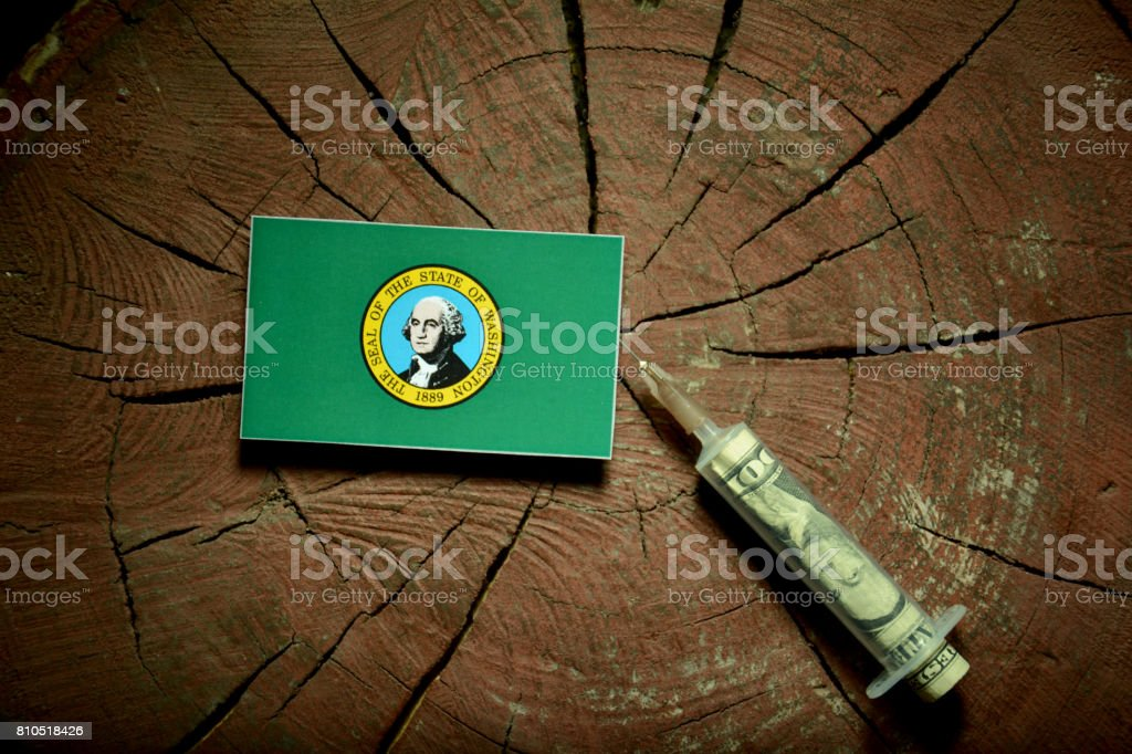 Washington flag on a stump with syringe injecting money in flag stock photo