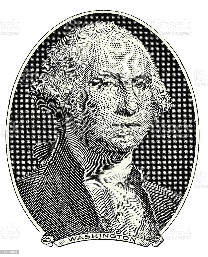 Washington George portrait cutout stock photo