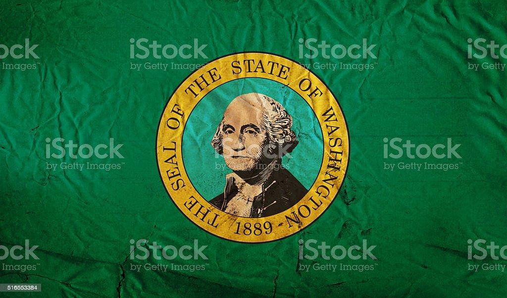 Washington grunge flag stock photo