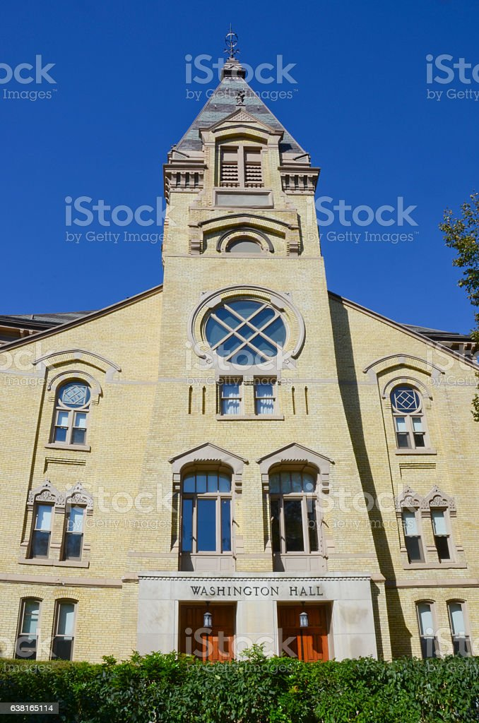 Washington Hall at University of Notre Dame stock photo