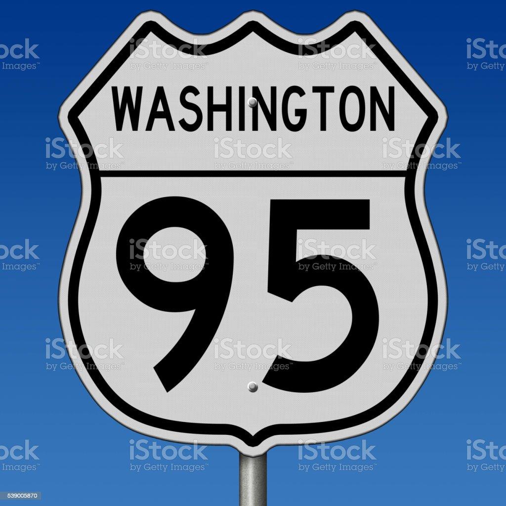 Washington highway 95 sign stock photo