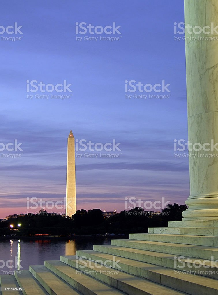 Washington Monument & Jefferson Memorial royalty-free stock photo