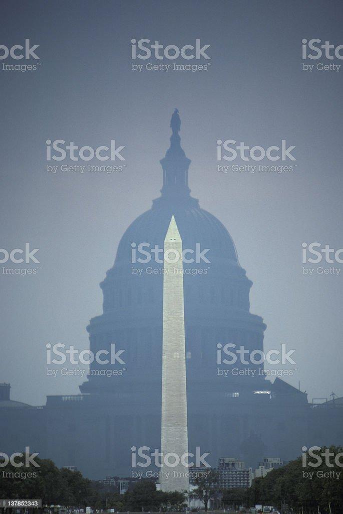 Washington Monument and Capitol DC royalty-free stock photo