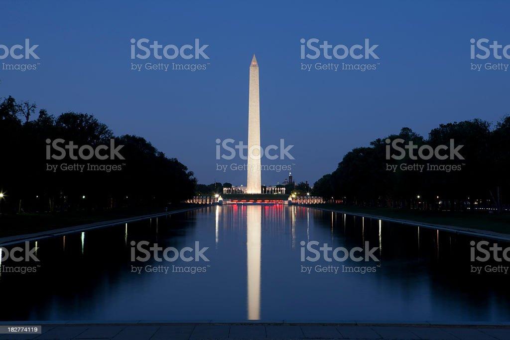 Washington Monument and Reflecting Pool stock photo