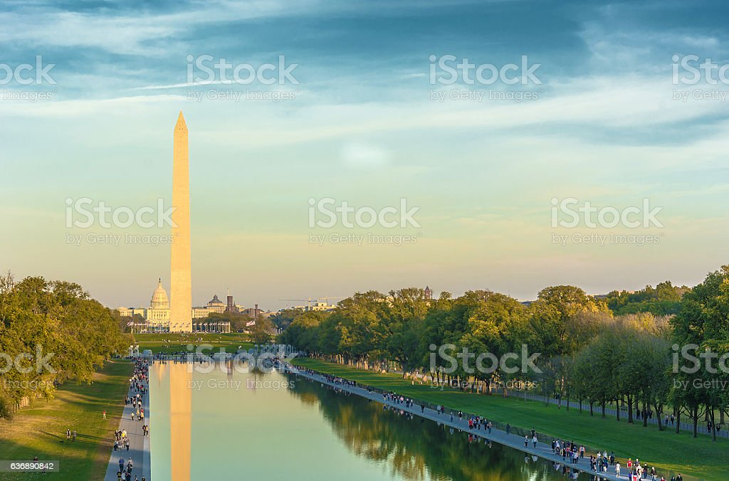 Washington Monument and Reflecting Pool, stock photo