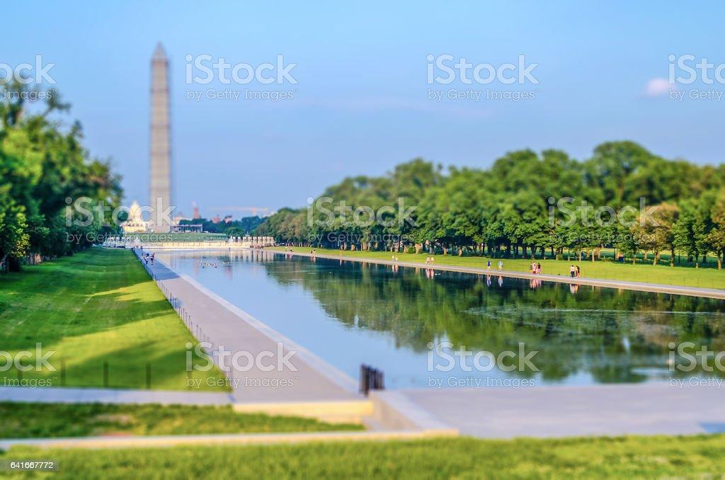 Washington Monument and Reflecting Pool, Washington DC. Tilt-shift effect applied stock photo