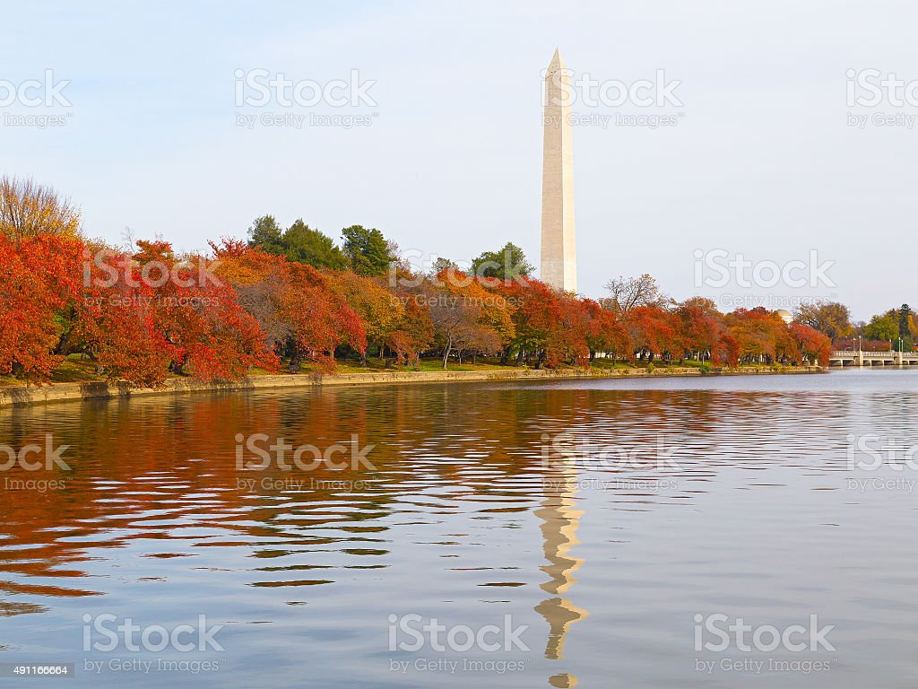 Washington Monument and the Tidal Basin in autumn. stock photo