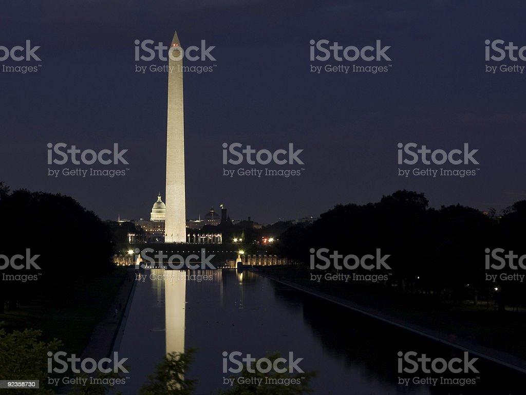 Washington Monument and U.S. Capitol at night stock photo